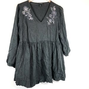 Lane Bryant Gray Floral Embroidered Tunic Top